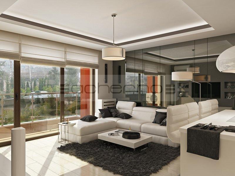 Raumgestaltung Wohnzimmer: Minimalistische Innenarchitektur Ideen In Weiß